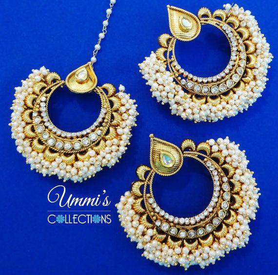 Golden Bead Kundan Stone Earrings Maang Tikka by UmmisCollections