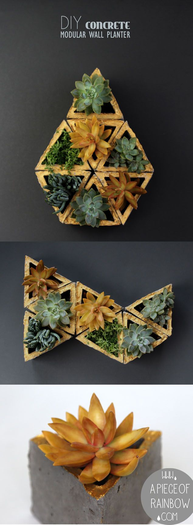 Easy to make DIY concrete geometric planters!  You can make stackable gardens or even living walls with them! | A Piece of Rainbow