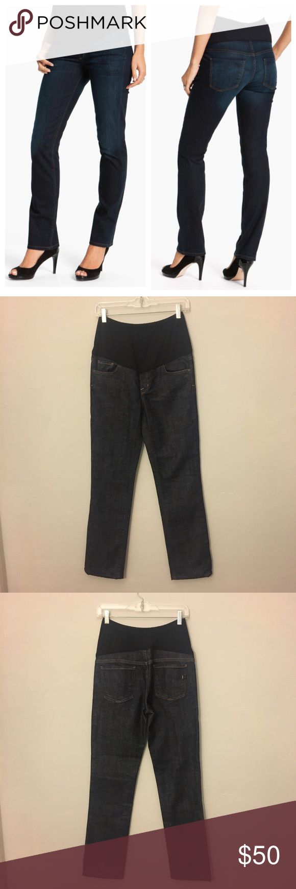 Citizens of Humanity Maternity Skinny Jeans These are a great pair of maternity jeans from Citizens of Humanity. They are a tailored skinny fit and are made out of a comfortable stretch denim which allows for movement and comfort. In a nice dark wash, these jeans are super versatile and can be worn for any occasion. They have functional front pockets and comfortable panels at the belly and back that can easily accommodate a changing figure throughout pregnancy. Dress them up for a night out…