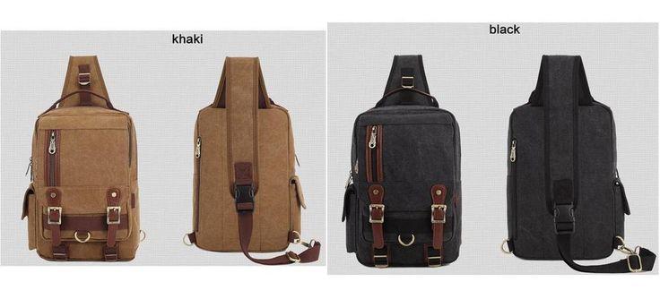 Kaukko Sling Bag Men Male Canvas Casual Bags Outdoor Gear Traveling Hiking…
