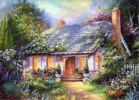 Jim Mitchell/art   Jim Mitchell Cottages - flower, art, tree, painting, jim mitchell ...