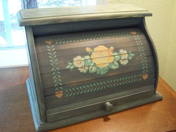 Distressed wood bread box/Roll top front bread box/Gray,peach,green, white/Storage/Country/Farm house/Rustic/Shabby chic decor