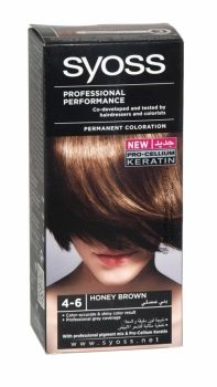 Syoss Professional Permanent Hair Colour 4-6 Honey Brown Co-developed and tested by hairdressers and colorists. Professional grey coverage. Syoss, the permamnent coloration in professional quality for home usage - with color pigment mix and nutri complex. Contains caring color cream, application bottle with developer milk, sachet with color-seal conditioner, instruction leaflet and gloves.