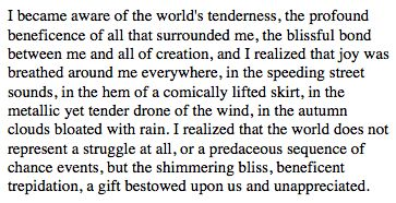 """Beneficence,"" Nabokov. I am in awe at how superb his English was."