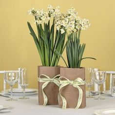 Large Narcissus Centerpiece in Brown Kraft Paper Bag
