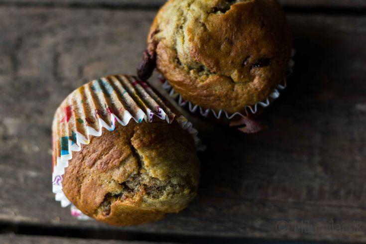 Sunde bananmuffins med chokoladestykker