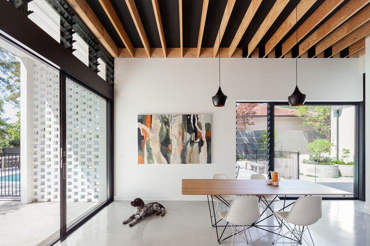 Noxon Giffen // Turramurra House // timber; black ceiling; white; grey epoxy floor; louvre; hit and miss bricks