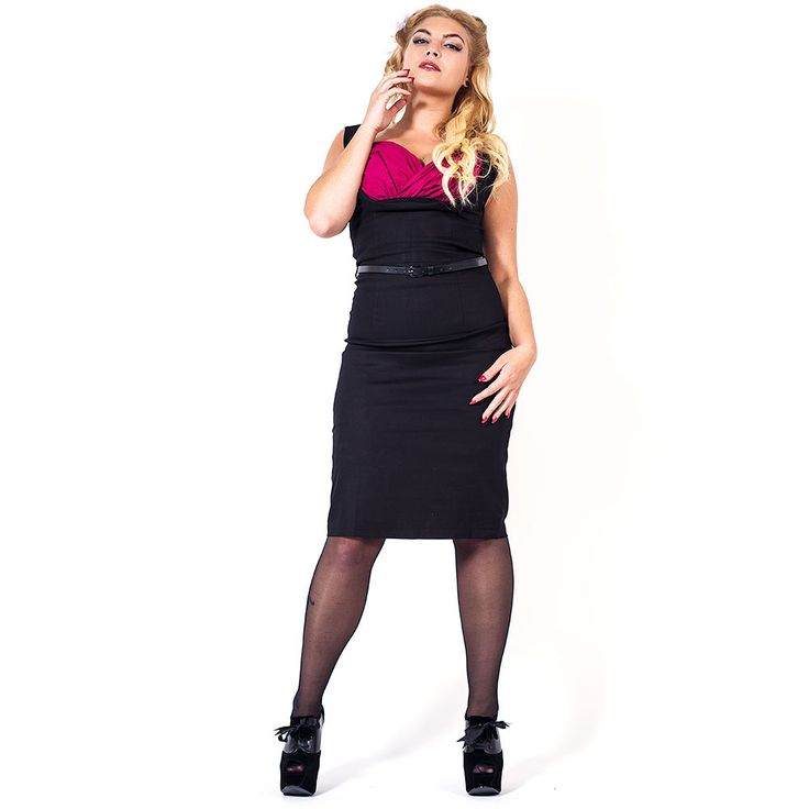 Wiggle Vanessa pencil jurk zwart/sangria