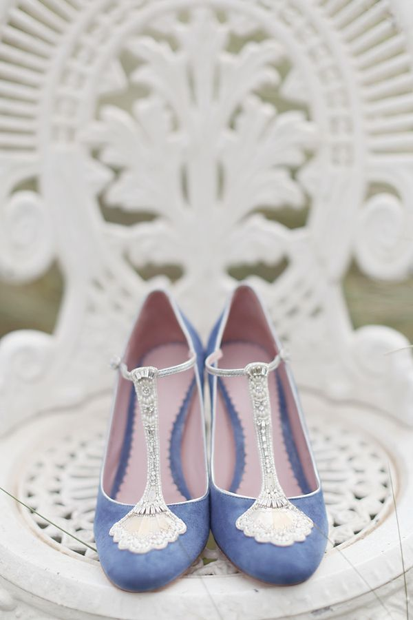 Stunning art-deco inspired blue wedding shoes by www.emmyshoes.co.uk.  From 'Blue Wedding Shoes, A Short Dress And Tipis For A Humanist Celebration On The Beach' on www.lovemydress.net  Photography by http://www.craigevasanders.com/  beach weddings, weddings by the beach, weddings by the sea, Scottish weddings, Scottish brides