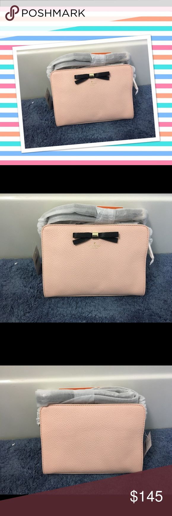 """Brand new Kate Spade Henderson street Fannie ❤️😍 Brand new. Still in packaging . Gorgeous pink urchin color. Adjustable cross body strap . A prim bow details this clean lined Kate spade. Zip closure , lined. 9"""" W 2""""D6.5 """" H . I want to buy something else on Posh that's why selling this beautiful bag 💕latest model just released this June  ! Offers welcome .Authenticity code posted in Pics kate spade Bags Crossbody Bags"""