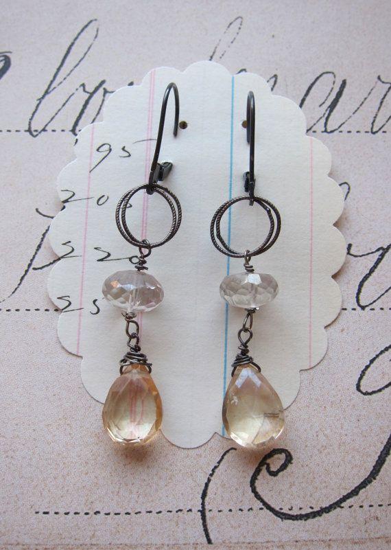 kinsey earrings  champagne topaz gemstone sterling by eliwill, $29.00