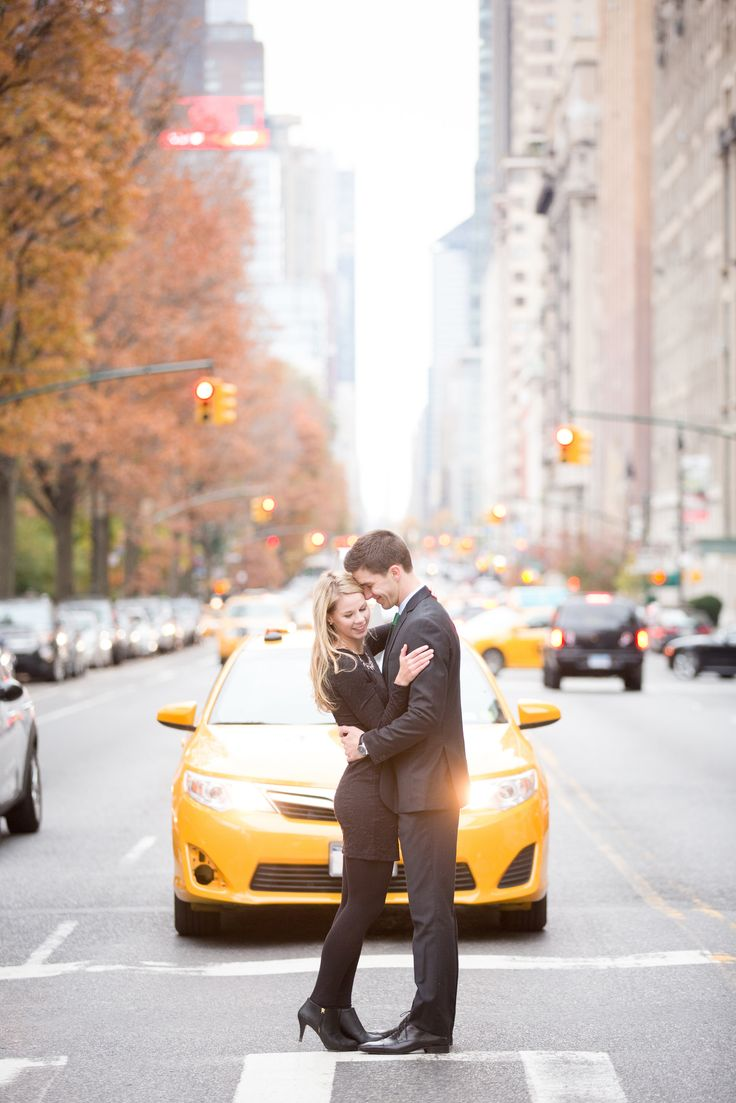 New York City, NYC, engagement session in the fall. Autumn was the perfect time in Central Park! Taxi Cab photobomb!!!