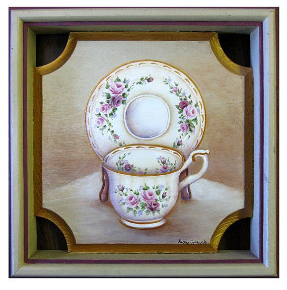 New  CUP & SAUCER PLAQUE Hand Painted Original by DianeTrierweiler, $39.99