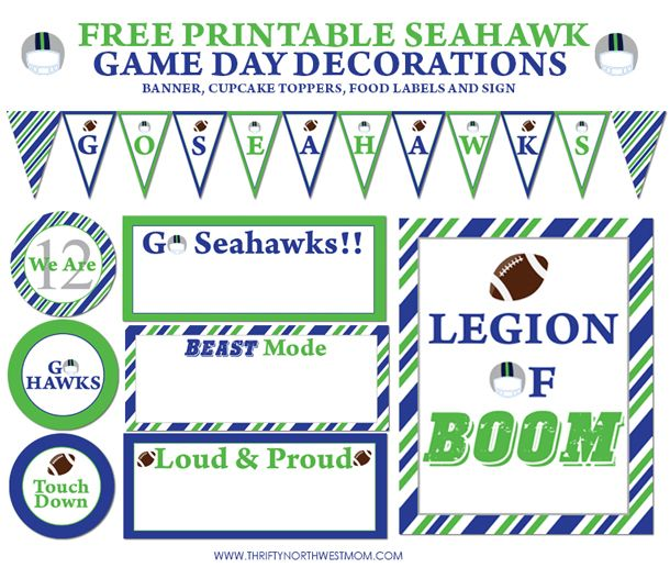 "Free Printable Seahawk Game Day Party Decorations - includes Cupcake Toppers, Food Labels, and Legion of Boom 8"" x 10"" printable sign 