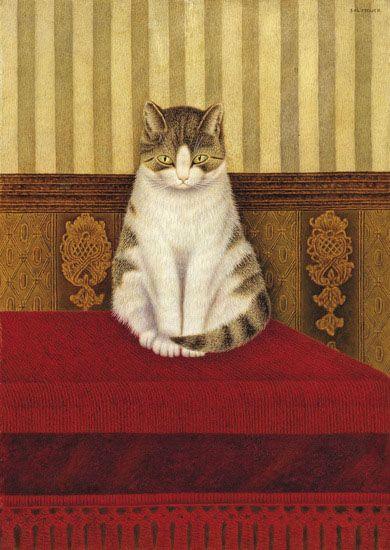Sal Meijer - Zittende poes op bed,   Cat painting