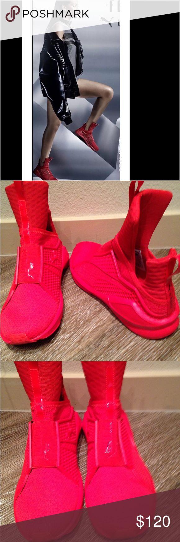 premium selection 794e9 f4e59 red fenty puma slides