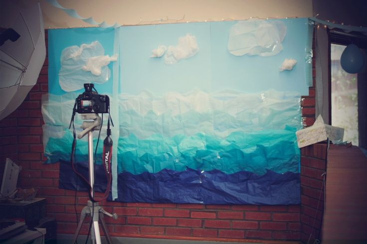 DIY Photobooth, Nautical Backdrop - tissue paper waves and clouds
