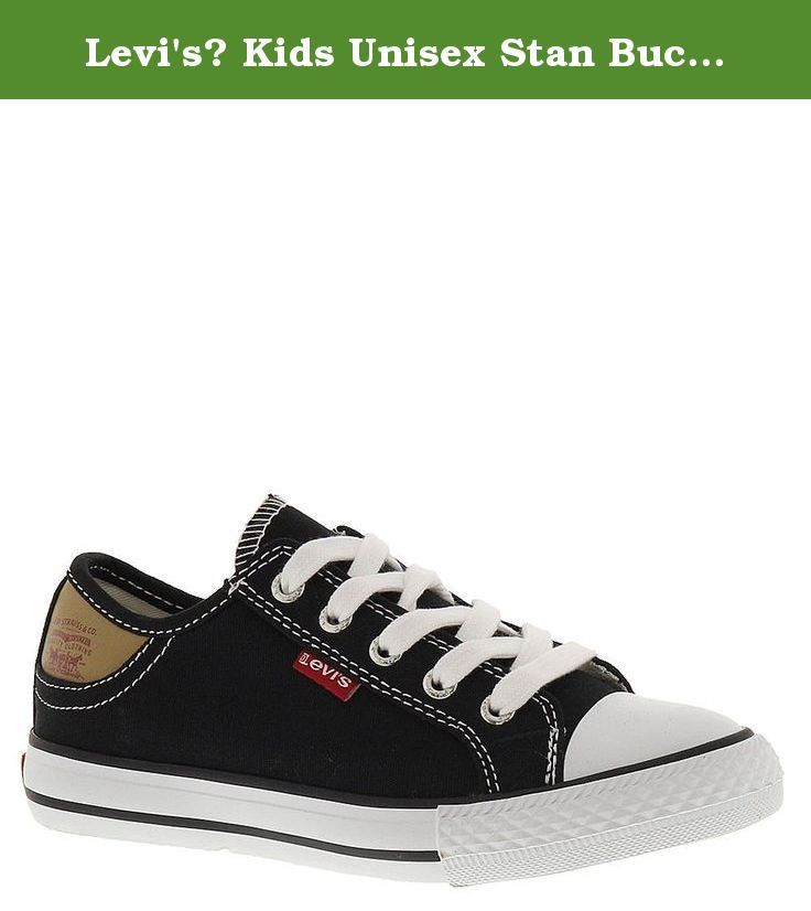 Levi's? Kids Unisex Stan Buck (Little Kid/Big Kid) Black/Brown Sneaker 5 Big Kid M. Canvas lining and cushioned footbed for all-day comfort. Traditional lacing closure with Levi's-branded metal eyelets. Unique style details include a rubber toe box, textured rubber toe bumper with embossed batwing logo and contrast sidewall trim. Rubber midsole. Rubber outsole provides traction.