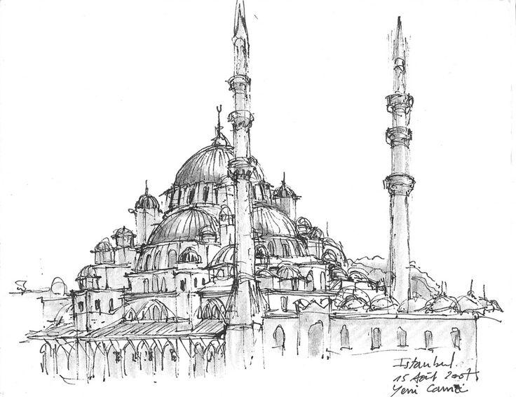 https://flic.kr/p/5TVYqb | Istanbul, Yeni Camii. Turkey. | Août 2007.  Part of Urban Sketchers blog.