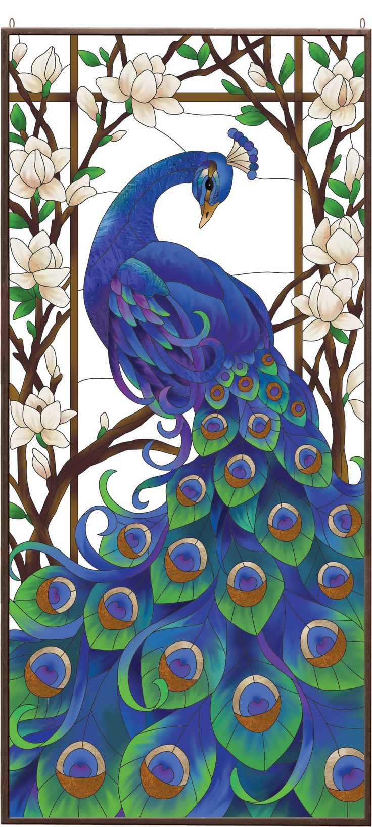 Peacock Stained Glass Art Panel.