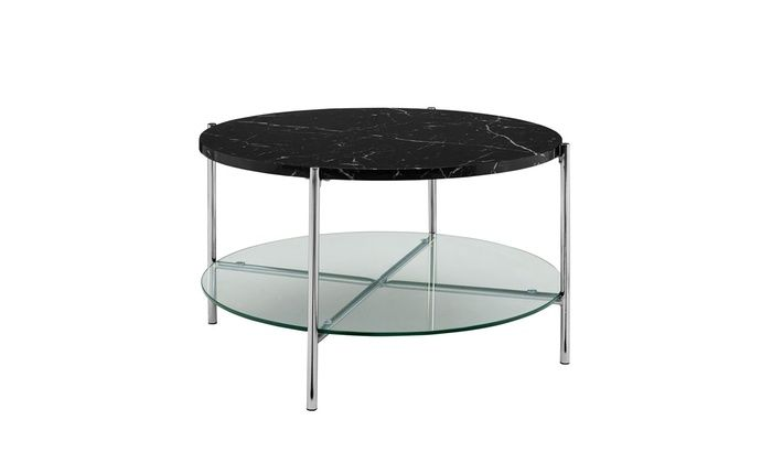 We Furniture 32 Round Coffee Table Black Marble Top Glass