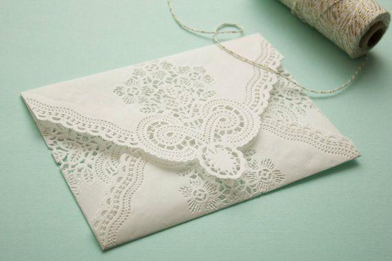 Vintage Lace Envelopes: Romantic Paper by ModernVintagePaperie