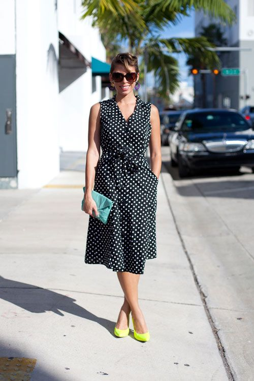 South Beach Chic: Art Basel Street Style - Liana takes her polka dots with a hit of neon.