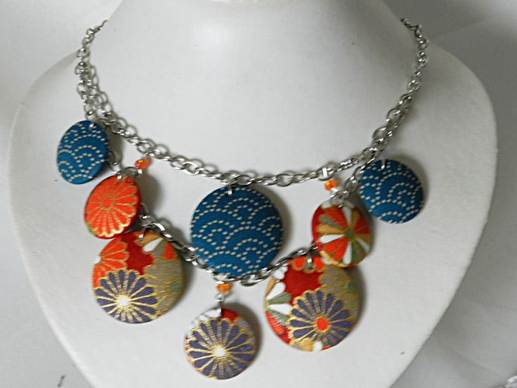 Colliers - Ketting in blauw en oranje Japanse stoffen - Een uniek product van MAUVE-CAPUCINE op DaWanda