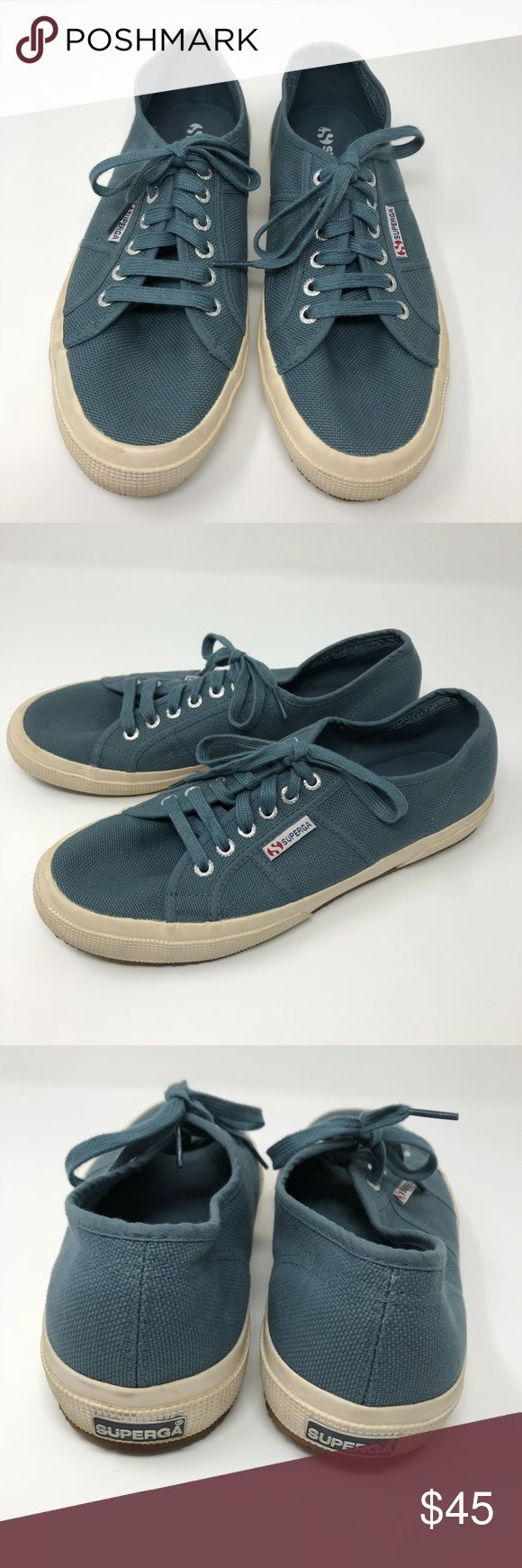 [Superga] men's classic canvas sneaker smokey blue [Superga] men's classic canvas tennis shoe sneakers smokey blue •🆕listing •good pre-owned condition, only worn a few times •size 8.5/EU 41.5 •Smokey blue teal color with cream rubber sole •offers and bundles welcomed Superga Shoes Sneakers