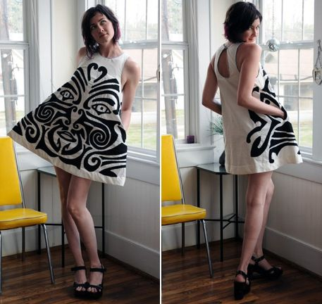The mini dress is handcrafted out of recycled materials: the white fabric had a former life as a 100% cotton bedsheet. The design was inspired by traditional Maori facial tattoos, sacred designs that are unique to each person. Every new Maori-inspired design that Rachel creates is altered so no two are identical.