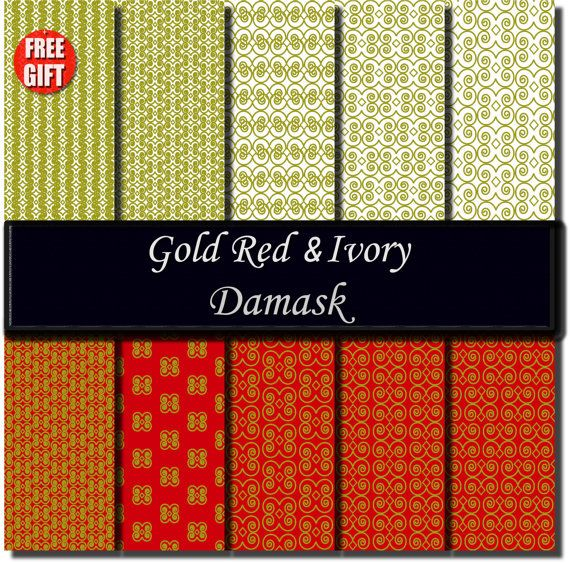 Gold Red Ivory Damask fabric print Digital Paper damask by DIGIFT, $5.99