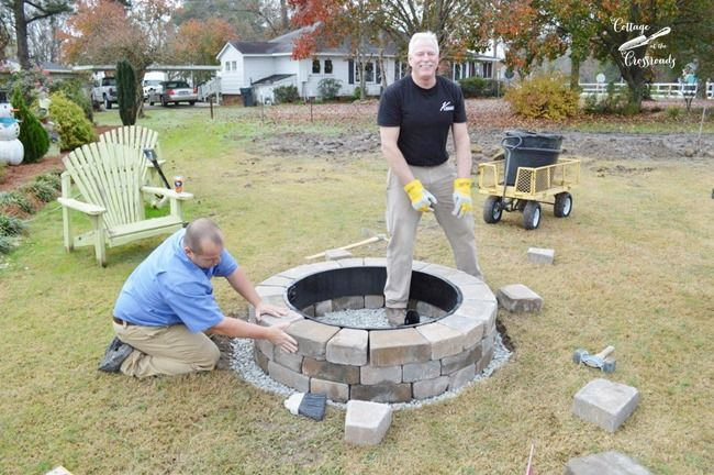 installation of Belgard fire pit