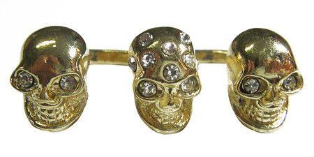 Anel duplo com 3 caveiras dourado strass #skull #ring #caveira #anel