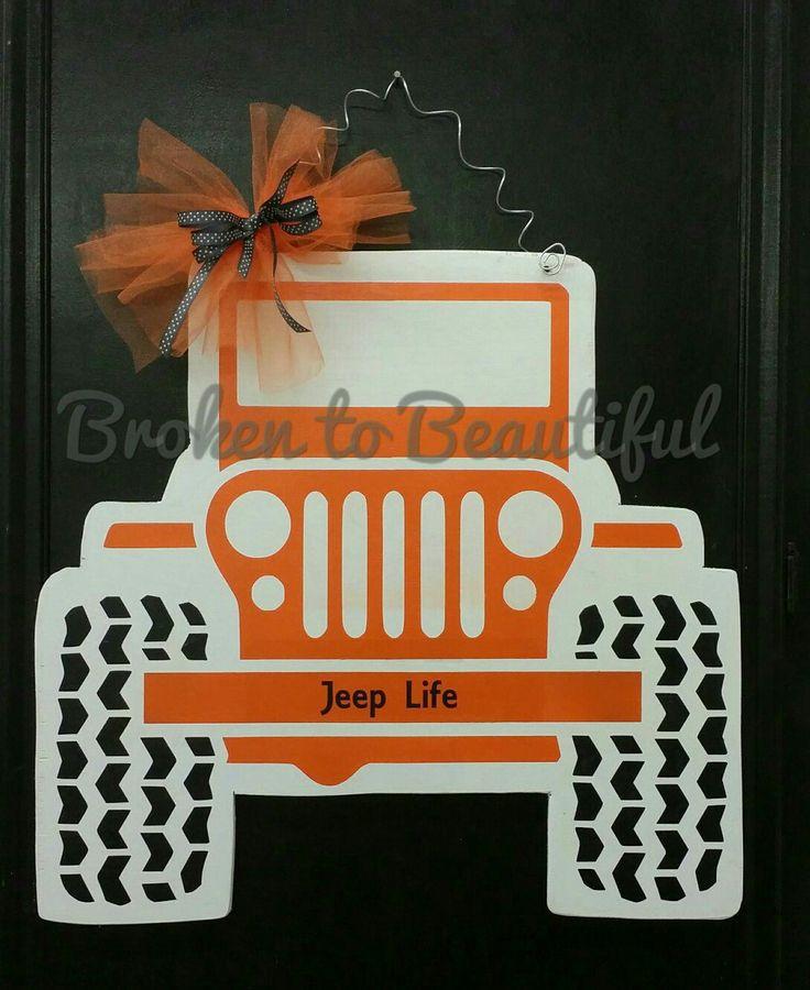 Wooden Jeep Door Hanger made at Broken to Beautiful, Lumberton, TX.