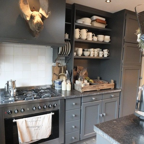 Hob and oven - bespoke shelves - think painted white and curtain fabric rather than cupboard doors?