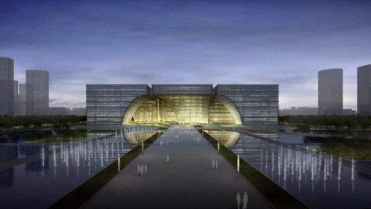 Looks like a massive building, even bigger then expected! Changzhou Culture Center designed by GMP Architekten.