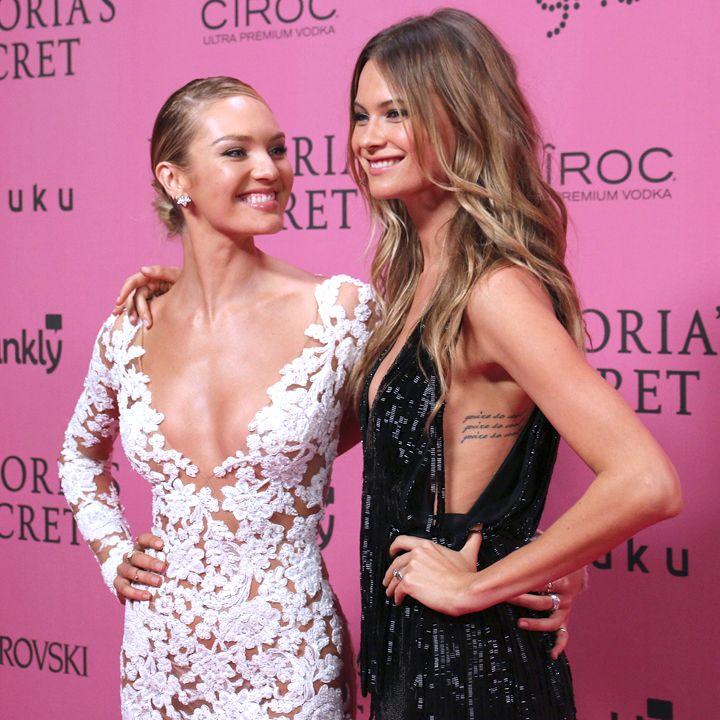 Candice Swanepoel with Behati Prinsloo at the 2014 Victoria's Secret Fashion Show After Party in London, England, December 2, 2014