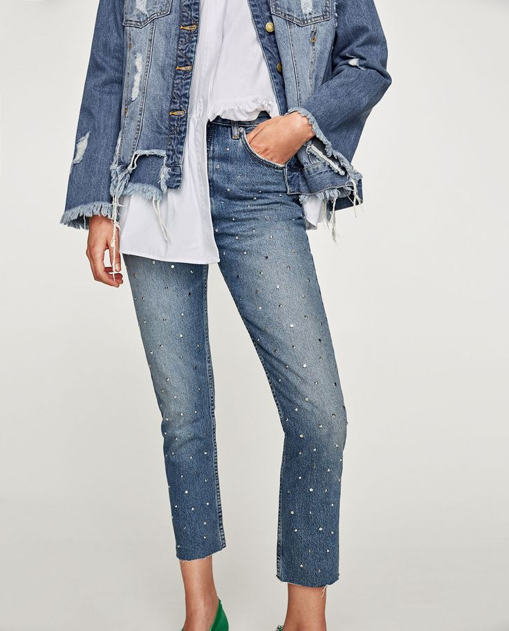 Image 2 of THE VINTAGE HIGH WAIST JEANS WITH STUDS from Zara