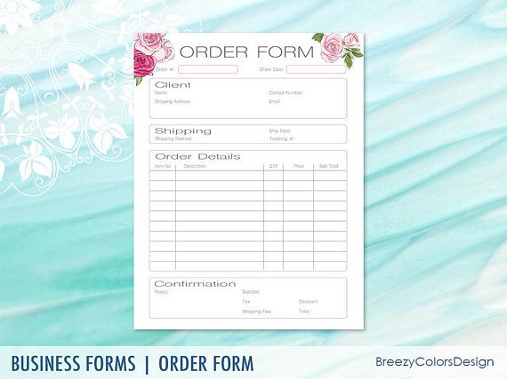 Pink Roses Order Form Handwritten Quotation Templates