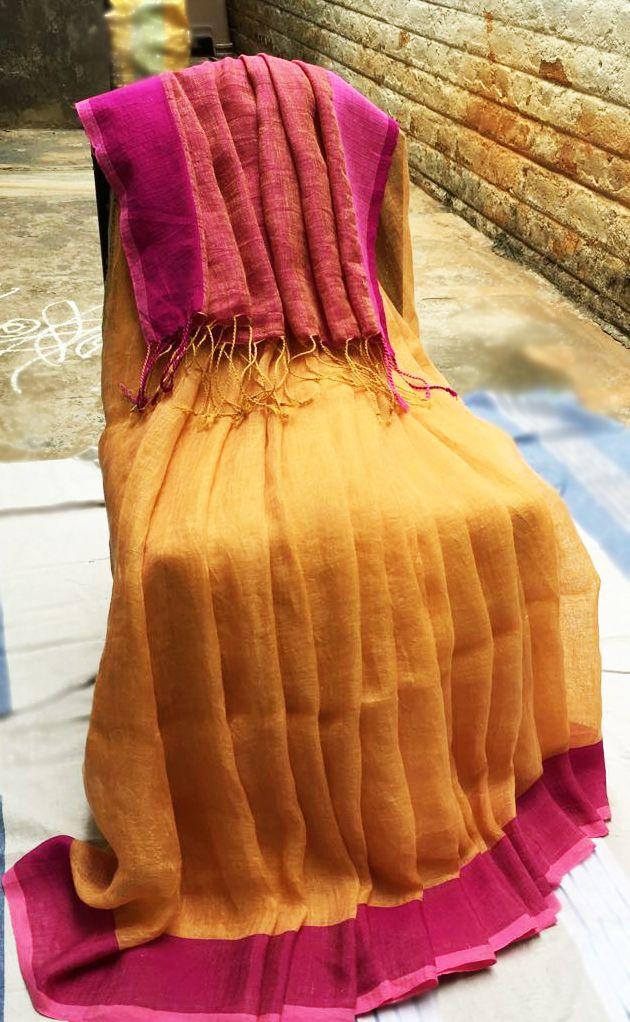 Mango yellow linen saree with dual pink border!