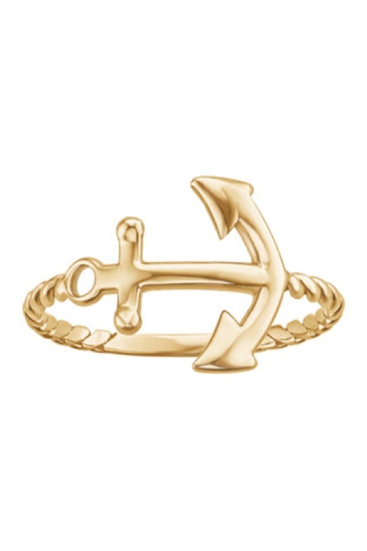 14K Gold Vermeil Rope Band Anchor Ring by Sterling Forever