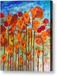 Poppies Make Me Happy Canvas Print by Amy Stielstra