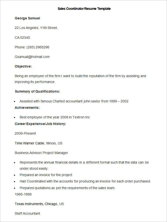 Sample Sales Coordinator Resume Template , Write Your Resume Much