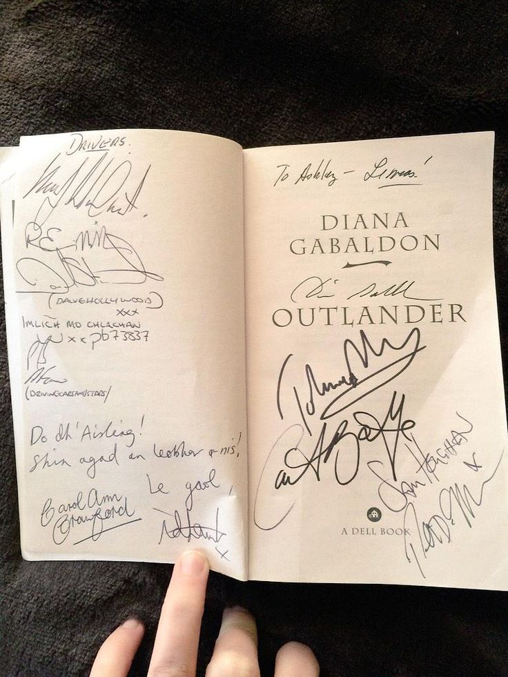 "I'm gonna pretend it's mine since it says ""To Ashley""  Outlander Cast Autographed Book #Outlander"