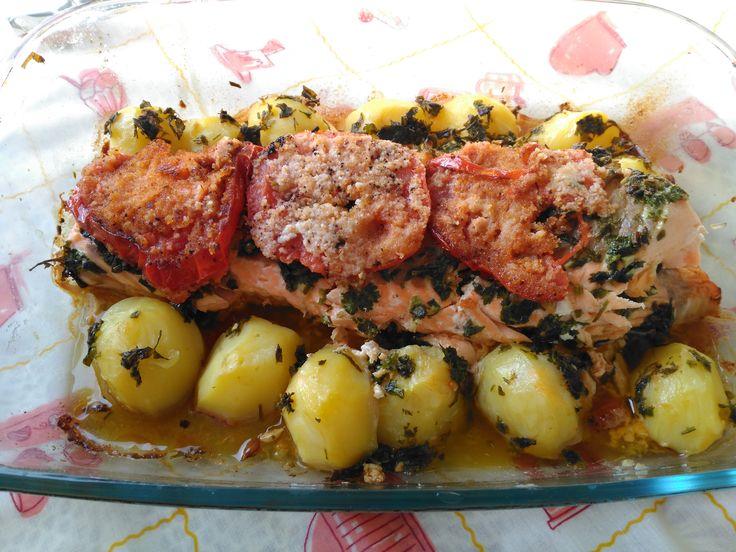 Lombo de salmão no forno