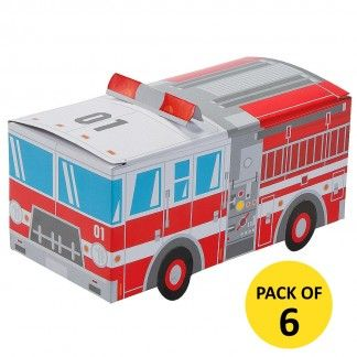 Fire Truck Treat Boxes (Pack of 6) | Fire Engine Party Supplies | Paw Patrol Party Supplies - Discount Party Supplies