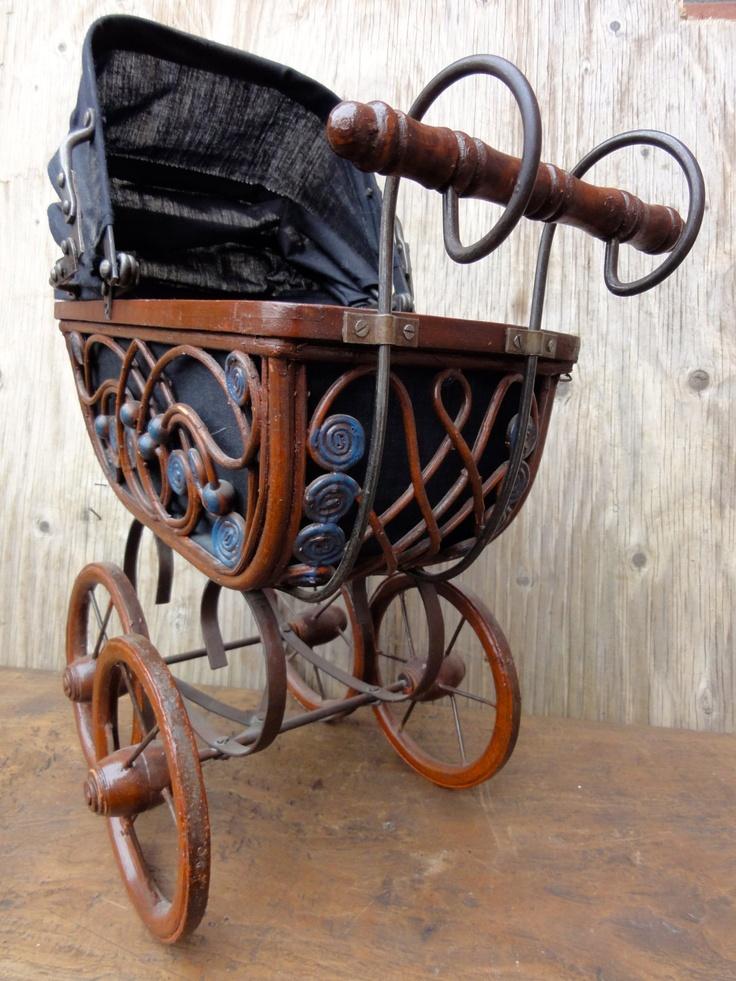 Vintage Doll' s Baby Carriage Pram Pushchair Buggy by oldamsterdam