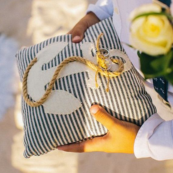 Nautical wedding ring  pillow, anchor, beach wedding