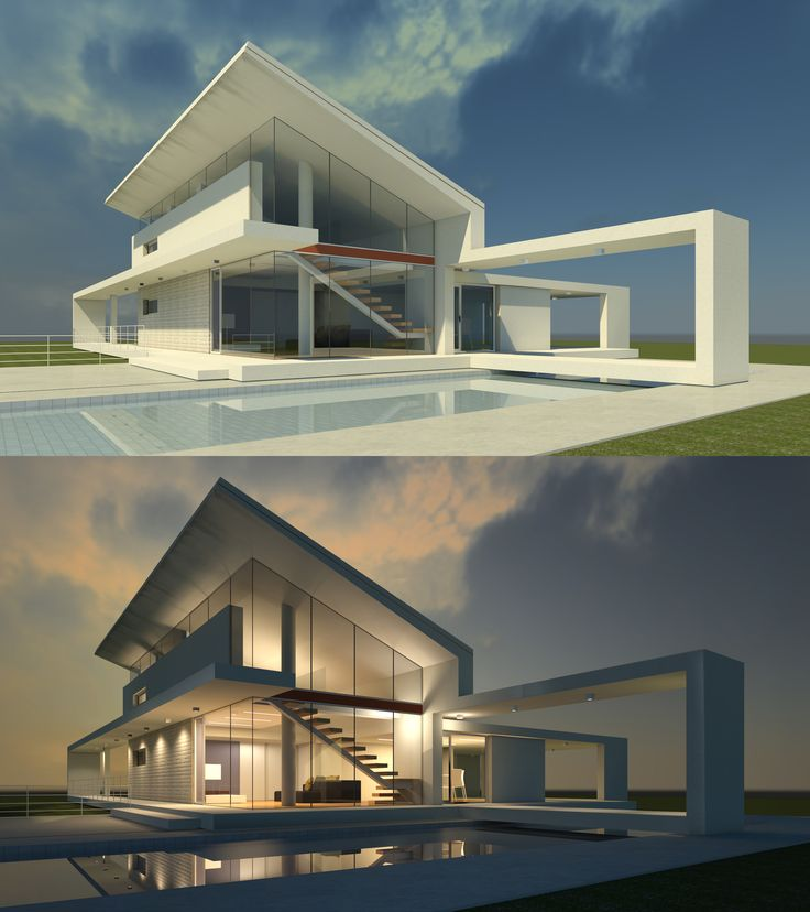 3d max exterior design design. day and night