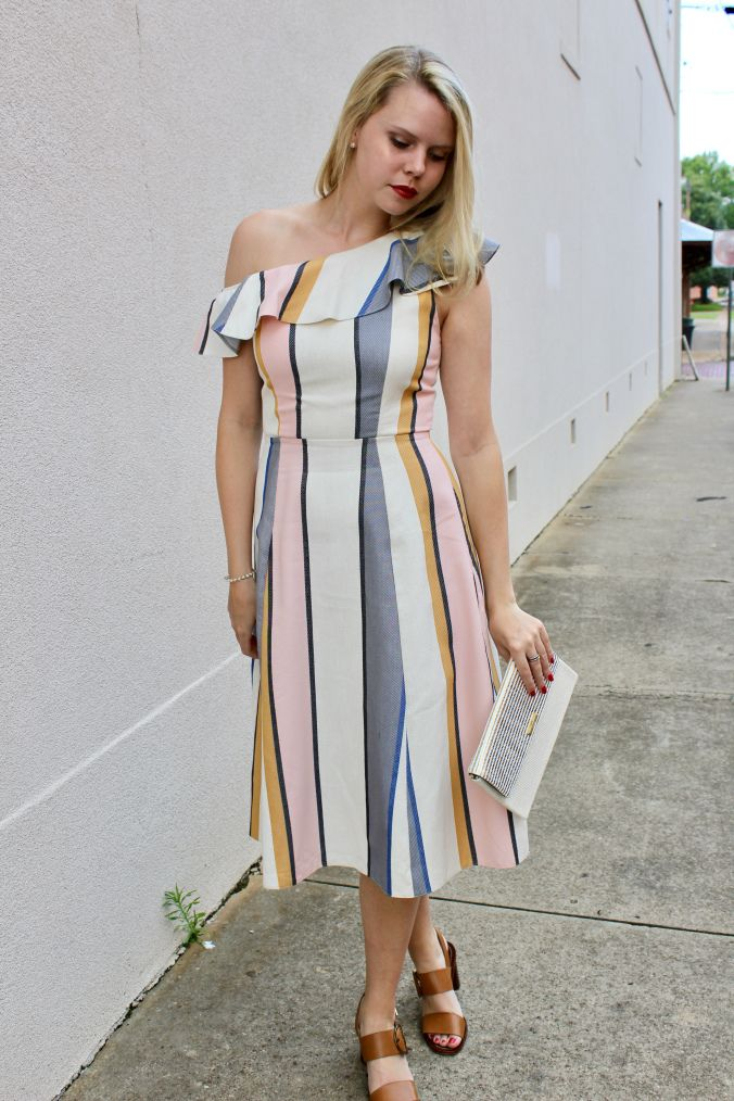 Pastel Midi Dress, neutral block heels, summer outfit, style and fashion, shop, blog, wedding guest attire